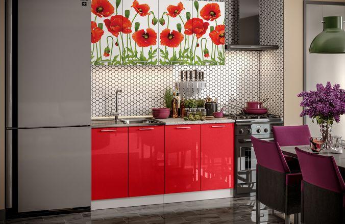 Кухня фотопечать Маки 1,6 м