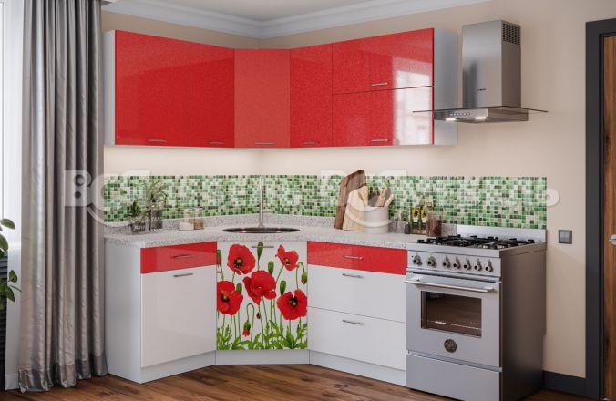 Кухня фотопечать Маки угловая 1,33 м х 1,63 м