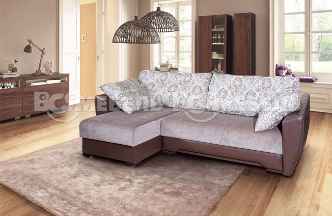Угловой диван тик–так Николь. Ткань: Bristol 04, Velvet Lux 52, Astor cofe