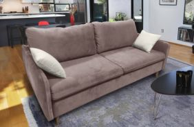 Прямой диван Бэст V. Ткань дивана: Velutto 06; ткань подушек: Velutto 01