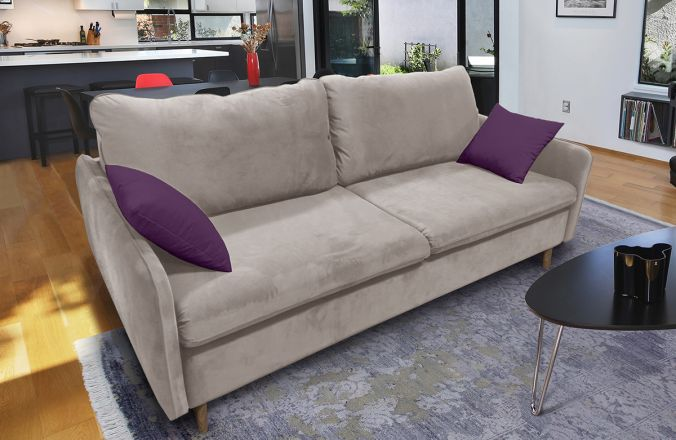 Прямой диван Бэст V. Ткань дивана: Velutto 07; ткань подушек: Velutto 25