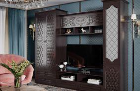 Готовые решение для гостиной, стенка Престиж. Шоколад Венге