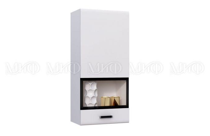 Навесной шкаф пенал со стеклом Рио