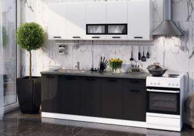 Кухня Рио белый глянец/черный глянец 2,0м