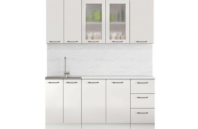 Кухня Техно белый глянец. Готовое решение 1,8