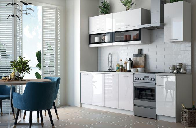 Кухня Техно белый глянец. Готовое решение 2,0