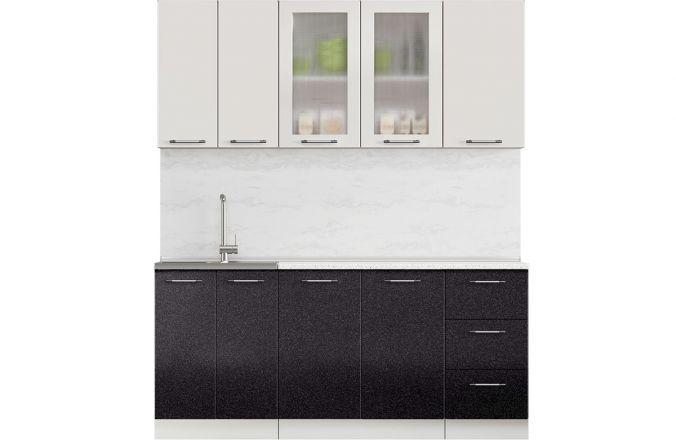 Кухня Техно чёрно-белый глянец. Готовое решение 1,8
