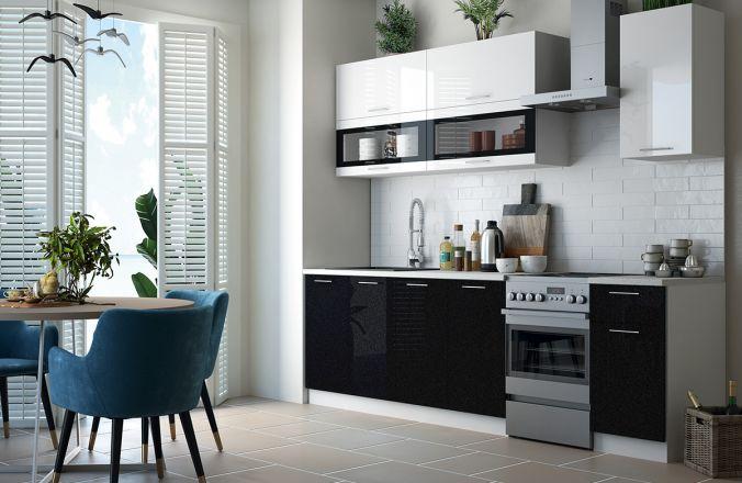 Кухня Техно чёрно-белый глянец NEW Готовое решение 2,0