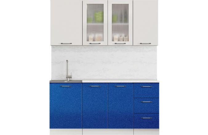 Кухня Техно синий металлик. Готовое решение 1,7