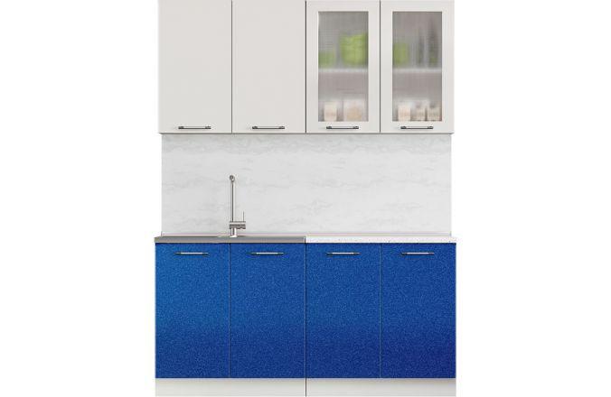 Кухня Техно синий металлик. Готовое решение 1,6
