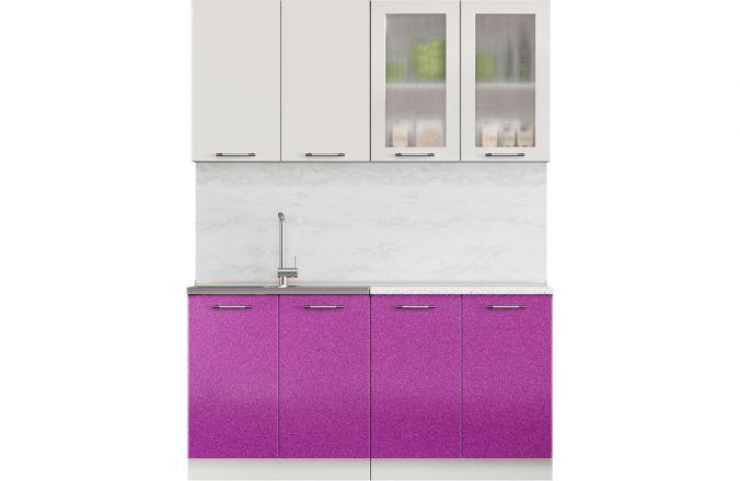 Кухня Техно фиолетовый металлик. Готовое решение 1,6