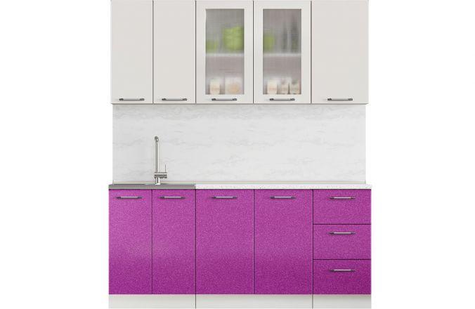 Кухня Техно фиолетовый металлик. Готовое решение 1,8