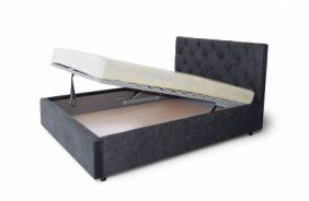 Черная мягкая кровать Мелиса Ромб 1,6 м. (Д)