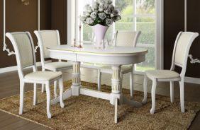 Обеденный стол Дуэт 2 Стул Кабриоль (белый, патина золото)