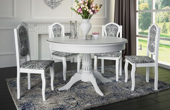 Обеденный стол Барокко Стул Классика 4(белый, патина серебро)
