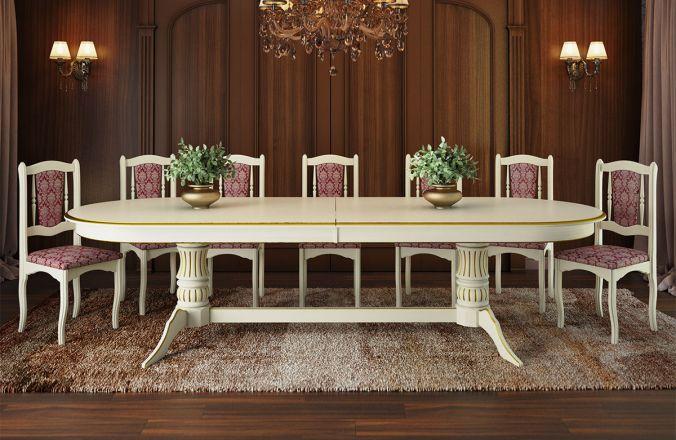 Обеденный стол Корвет 3 Стул Классика 3(слоновая кость, патина золото)