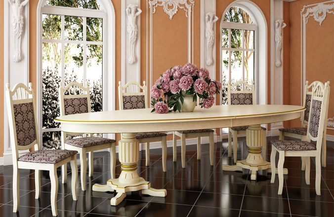 Обеденный стол Юбилейный Стул Классика 10(слоновая кость, патина золото)