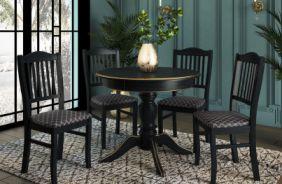 Обеденный стол Мираж 4 Стул Сити 1(черный абрикос, патина золото)