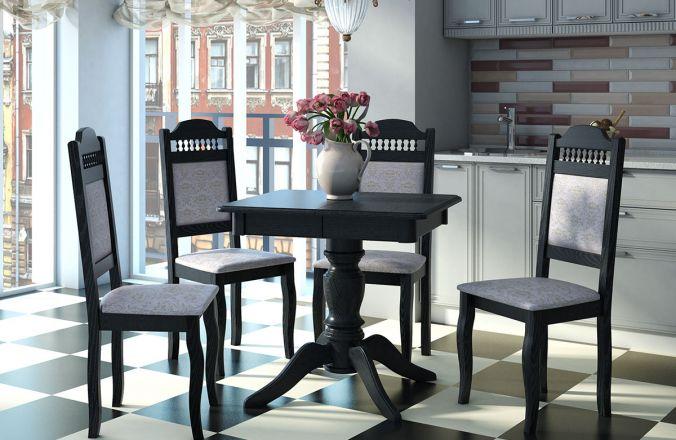 Обеденный стол Мираж 7 Стул Классика 7(черный абрикос)