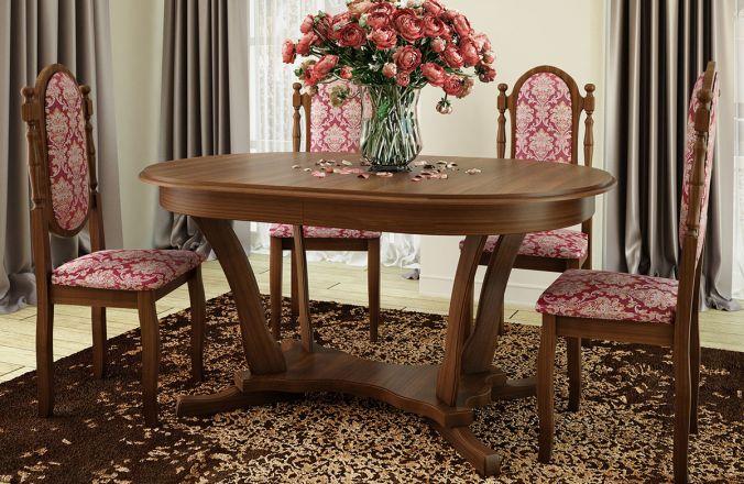 Обеденный стол Лотос 1 Стул Классика 6 (орех)
