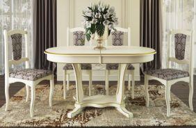 Обеденный стол Лотос 2 Стул Классика 2 (слоновая кость, патина золото)