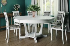 Обеденный стол Лотос 6 Стул Лотос (белый, патина серебро)