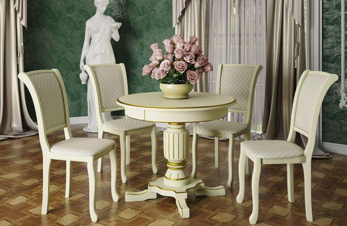 Обеденный стол Венеция 2 Стул Кабриоль (слоновая кость, патина золото)