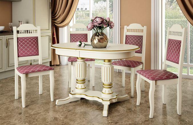 Обеденный стол Венеция 3 Стул Классика 7(слоновая кость, патина золото)