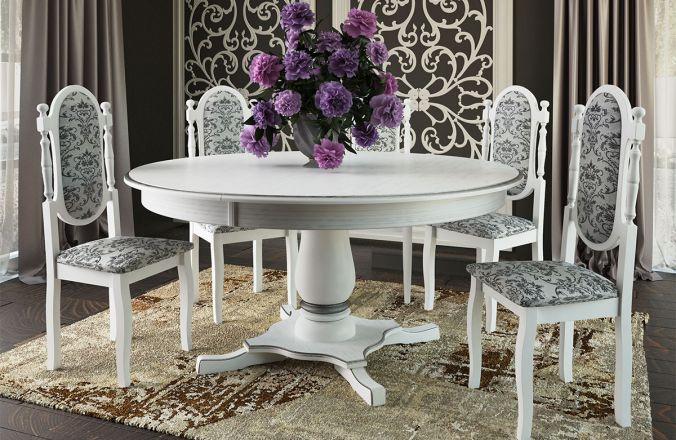 Обеденный стол Турин Стул Классика 6 (белый, патина серебро)