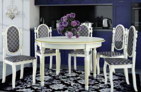 Обеденный стол Милан 5 Стул Классика 5 (белый, патина золото)