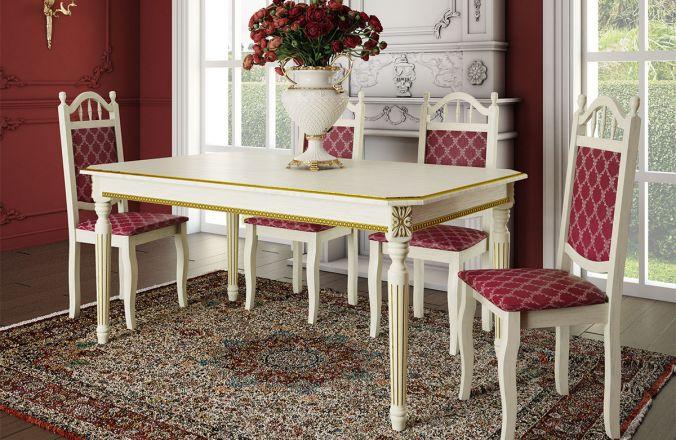 Обеденный стол Милан Антик Стул Классика 10(слоновая кость, патина золото )
