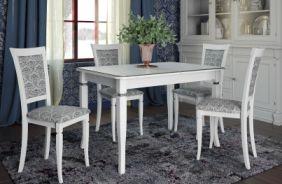 Обеденный стол Неаполь Стул Лотос (белый, патина серебро)