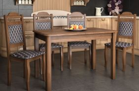 Обеденный стол Кипр Радиус Стул Классика 7 (орех)