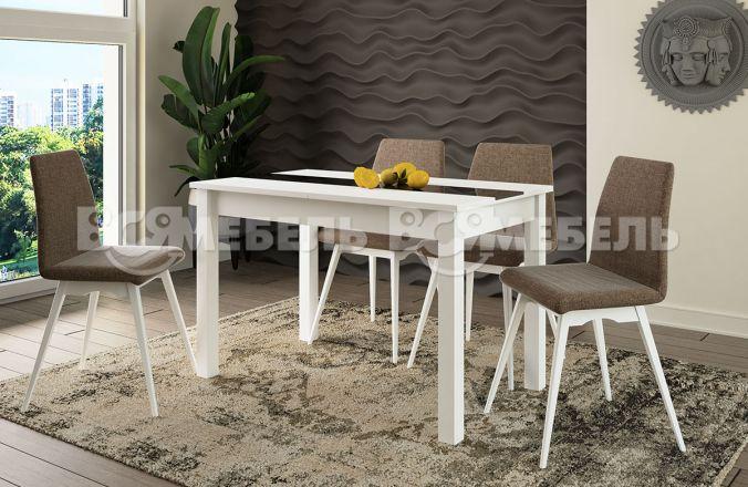 Обеденный стол Кипр Стекло Стул Капри (белый, черное стекло)