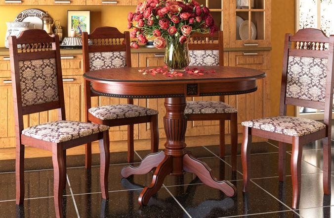Обеденный стол Верона+ Стул Классика 7 (итальянский орех, патина черная)