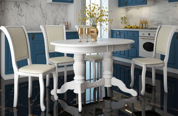 Обеденный стол Верона 2 Стул Кабриоль (белый)