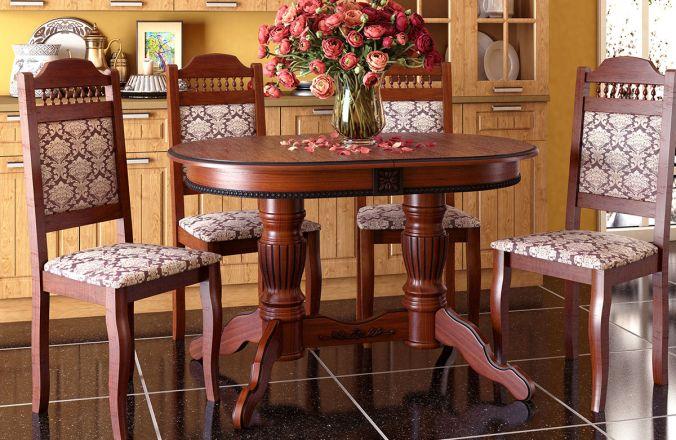 Обеденный стол Верона 3 Стул Классика 7 (итальянский орех, патина черная)