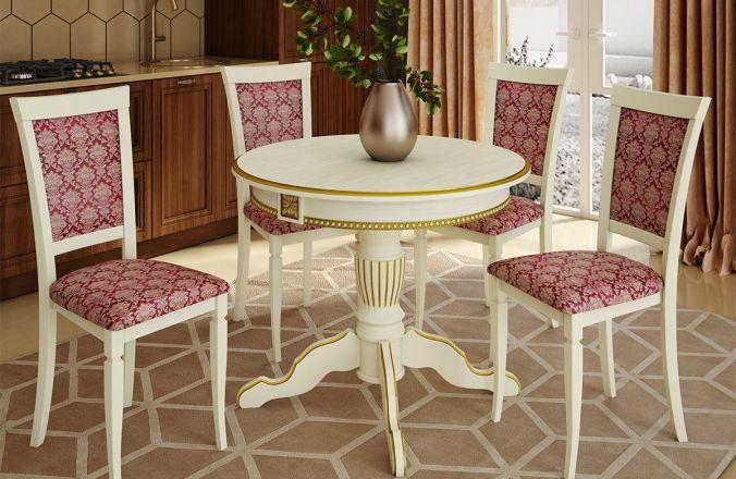 Обеденный стол Верона 4 Стул Лотос (слоновая кость патина золото)