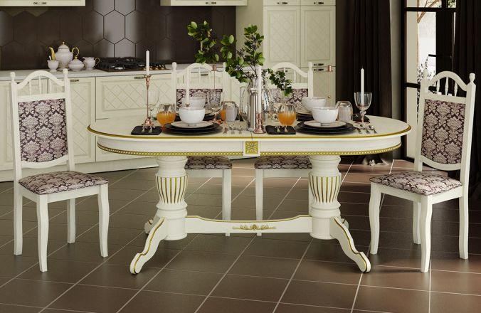 Обеденный стол Верона-К Стул Классика 10 (слоновая кость, патина золото )