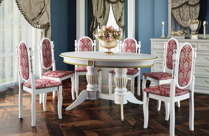 Обеденный стол Рио 1 Стул Классика 5 (белый, патина золото)