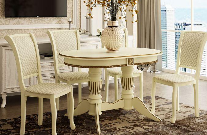 Обеденный стол Рио 3 Стул Кабриоль (слоновая кость, патина золото)