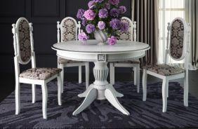 Обеденный стол Рио 5 Стул Классика 6 (белый, патина серебро)