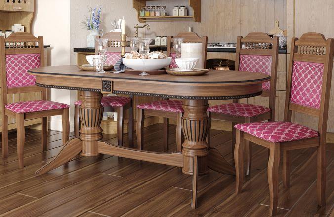 Обеденный стол Рио-К Стул Классика 7 (орех, патина черная)