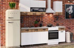 Кухня Рио ЛДСП белый/ дуб крафт 1,7 в интерьере