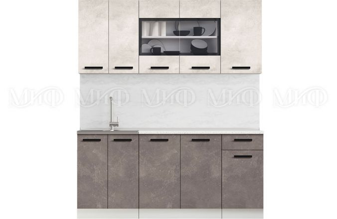 Кухня Рио бетон светлый/темный 1,8