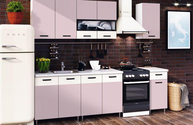 Кухня Рио Розовая 1,8 в интерьере