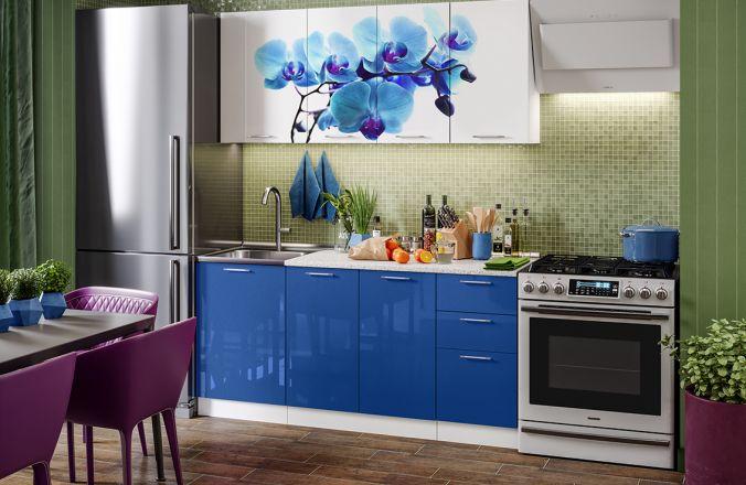 Кухня фотопечать Орхидея синяя. Готовое решение 1,7