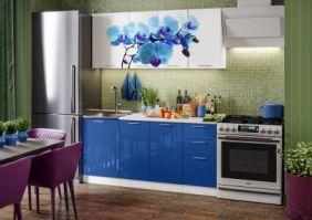 Кухня фотопечать Орхидея синяя ( готовое решение 1,7 )
