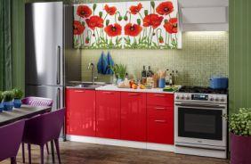 Кухня фотопечать Маки 1,7 м
