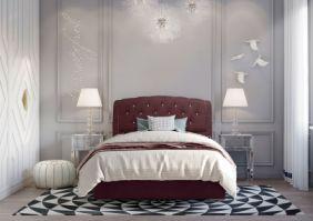 Кровать с изголовьем из экокожи